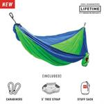 Double Deluxe Parachute Nylon Hammock w/ Straps - Blue/Green