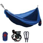 Double Deluxe Parachute Nylon Hammock w/ Straps - Navy/Lt. Blue