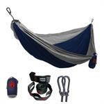 Double Deluxe Parachute Nylon Hammock w/ Straps - Navy/Silver